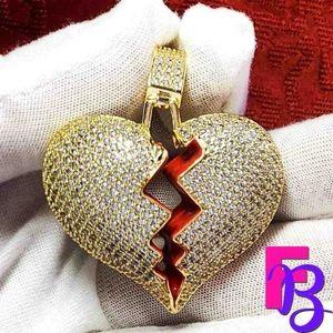 18K Micropave Broken Heart Pendant